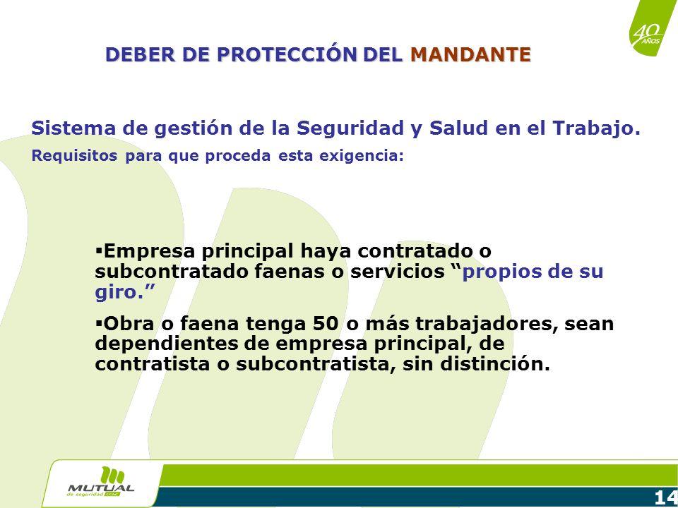 14 DEBER DE PROTECCIÓN DEL MANDANTE Sistema de gestión de la Seguridad y Salud en el Trabajo. Requisitos para que proceda esta exigencia: Empresa prin