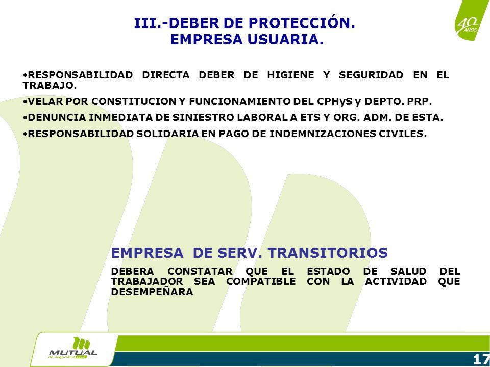 17 RESPONSABILIDAD DIRECTA DEBER DE HIGIENE Y SEGURIDAD EN EL TRABAJO. VELAR POR CONSTITUCION Y FUNCIONAMIENTO DEL CPHyS y DEPTO. PRP. DENUNCIA INMEDI