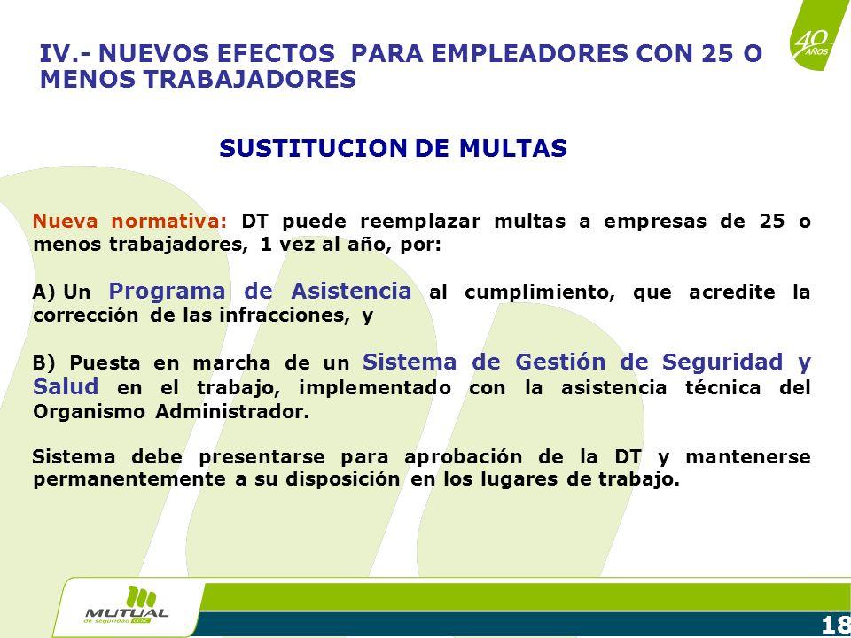 18 SUSTITUCION DE MULTAS Nueva normativa: DT puede reemplazar multas a empresas de 25 o menos trabajadores, 1 vez al año, por: A) Un Programa de Asist