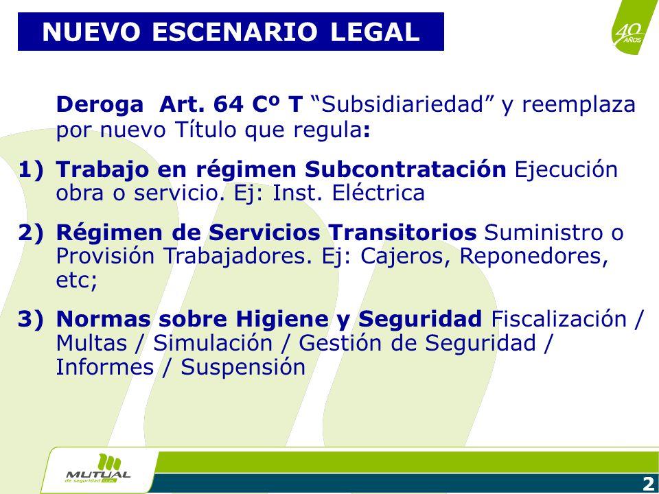 2 NUEVO ESCENARIO LEGAL Deroga Art. 64 Cº T Subsidiariedad y reemplaza por nuevo Título que regula: 1)Trabajo en régimen Subcontratación Ejecución obr