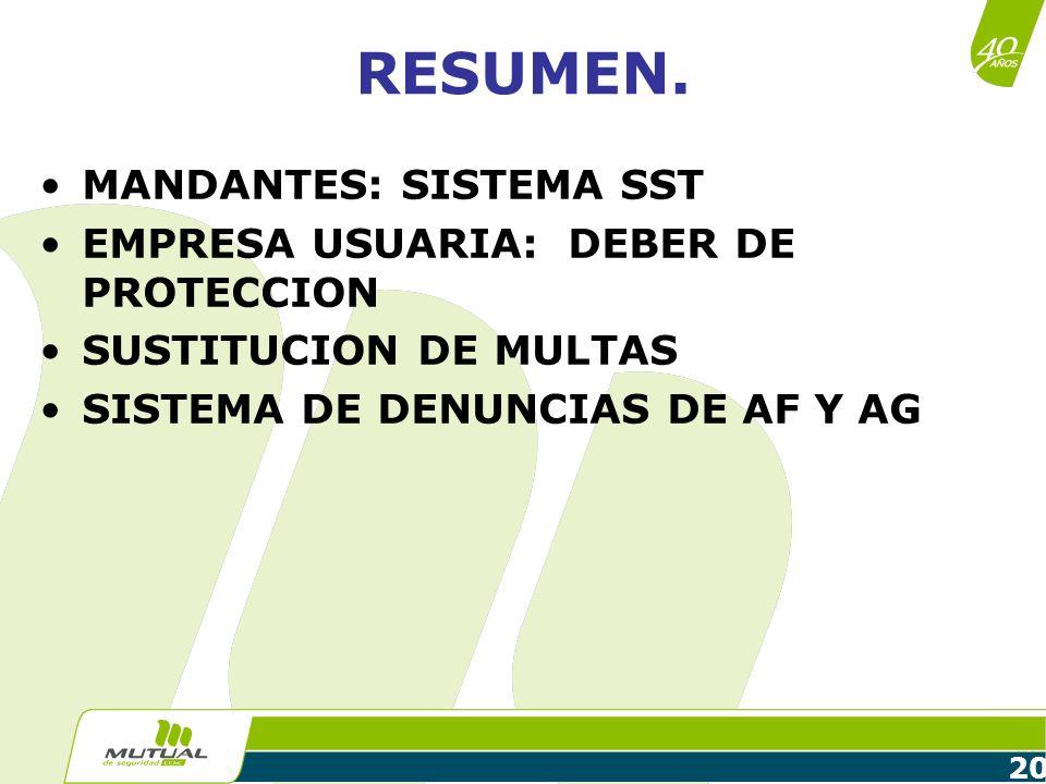 20 RESUMEN. MANDANTES: SISTEMA SST EMPRESA USUARIA: DEBER DE PROTECCION SUSTITUCION DE MULTAS SISTEMA DE DENUNCIAS DE AF Y AG