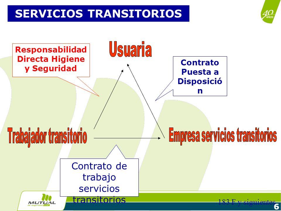 6 SERVICIOS TRANSITORIOS Contrato Puesta a Disposició n Contrato de trabajo servicios transitorios Responsabilidad Directa Higiene y Seguridad 183 F y