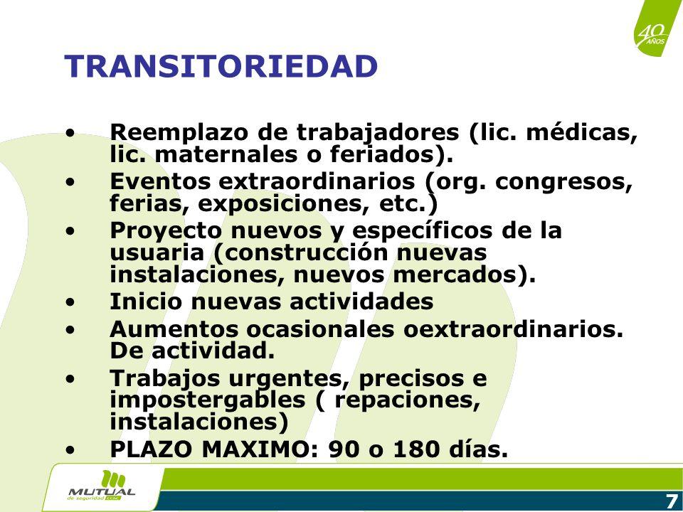 7 TRANSITORIEDAD Reemplazo de trabajadores (lic. médicas, lic. maternales o feriados). Eventos extraordinarios (org. congresos, ferias, exposiciones,