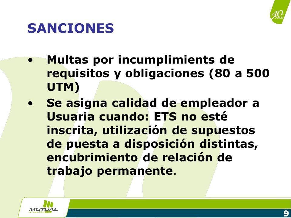 9 SANCIONES Multas por incumplimients de requisitos y obligaciones (80 a 500 UTM) Se asigna calidad de empleador a Usuaria cuando: ETS no esté inscrit