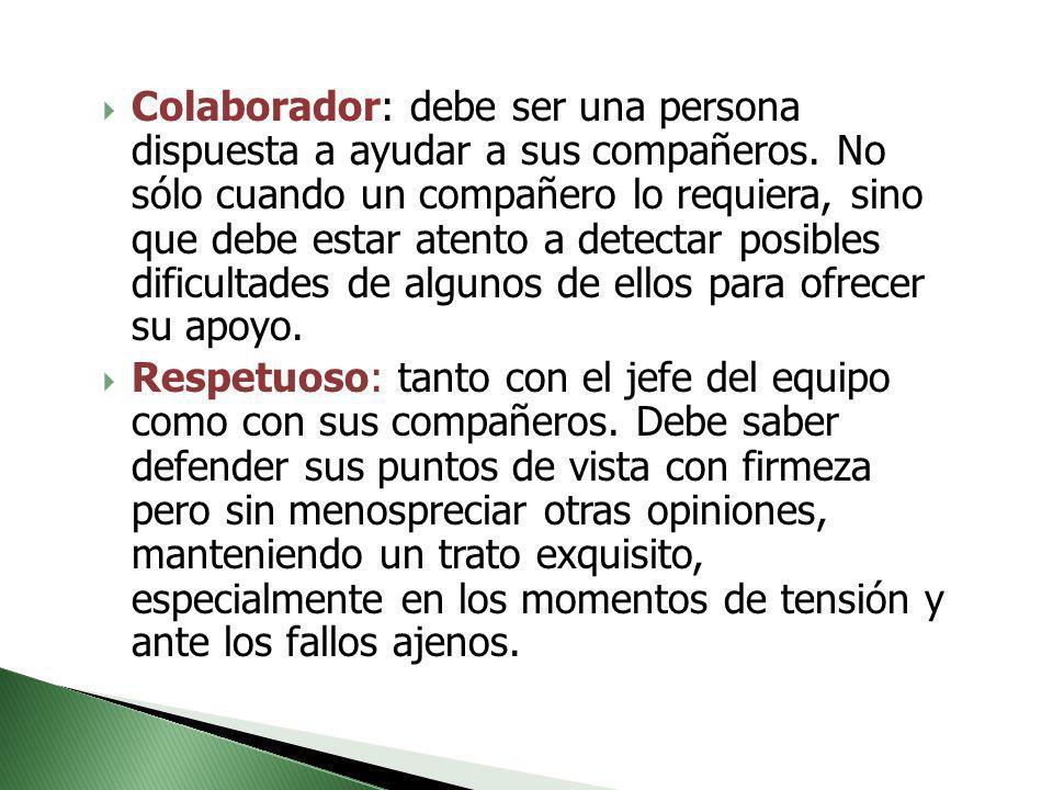 Colaborador: debe ser una persona dispuesta a ayudar a sus compañeros. No sólo cuando un compañero lo requiera, sino que debe estar atento a detectar
