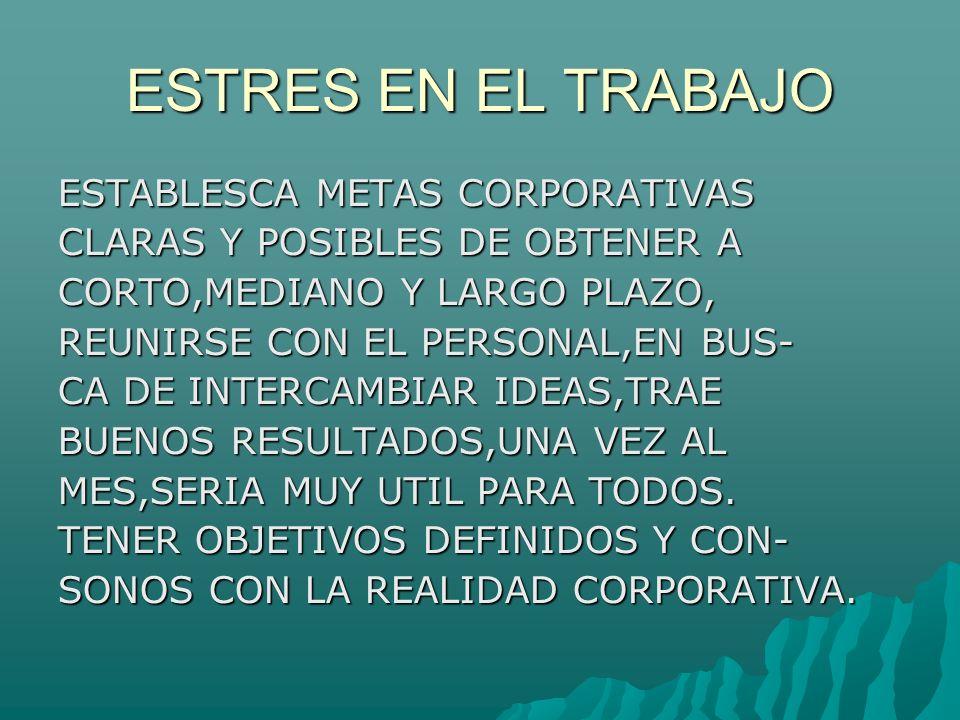 ESTRES EN EL TRABAJO ESTABLESCA METAS CORPORATIVAS CLARAS Y POSIBLES DE OBTENER A CORTO,MEDIANO Y LARGO PLAZO, REUNIRSE CON EL PERSONAL,EN BUS- CA DE INTERCAMBIAR IDEAS,TRAE BUENOS RESULTADOS,UNA VEZ AL MES,SERIA MUY UTIL PARA TODOS.