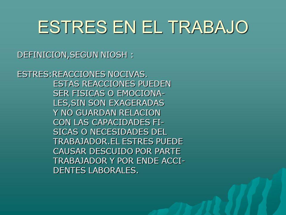 ESTRES EN EL TRABAJO DEFINICION,SEGUN NIOSH : ESTRES:REACCIONES NOCIVAS.
