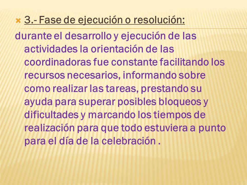 3.- Fase de ejecución o resolución: durante el desarrollo y ejecución de las actividades la orientación de las coordinadoras fue constante facilitando