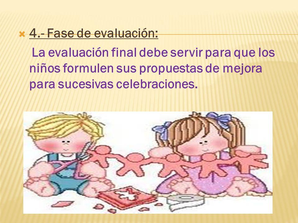 4.- Fase de evaluación: La evaluación final debe servir para que los niños formulen sus propuestas de mejora para sucesivas celebraciones.