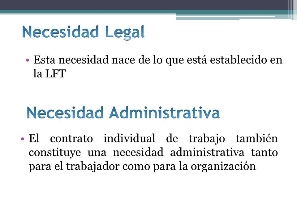 El contrato individual de trabajo también constituye una necesidad administrativa tanto para el trabajador como para la organización Esta necesidad nace de lo que está establecido en la LFT