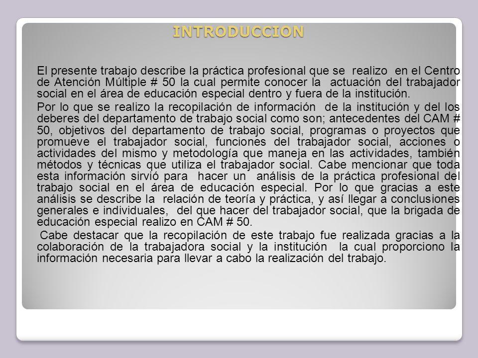 3.Programas o proyectos que promueve trabajo social La escuela de atención múltiple No.