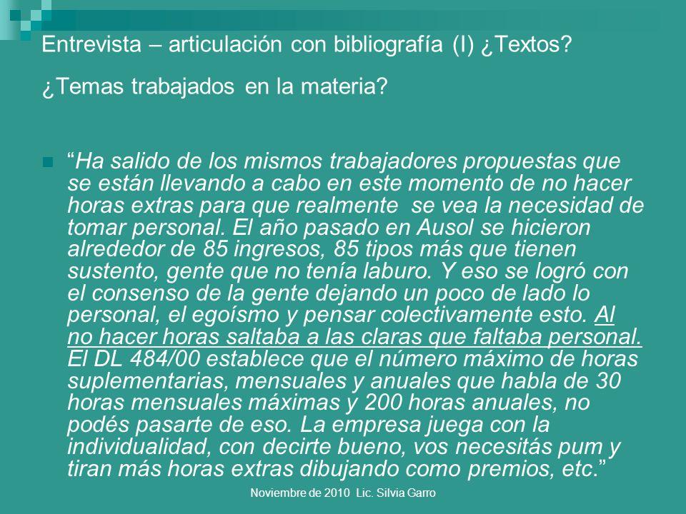 Noviembre de 2010 Lic. Silvia Garro Entrevista – articulación con bibliografía (I) ¿Textos? ¿Temas trabajados en la materia? Ha salido de los mismos t