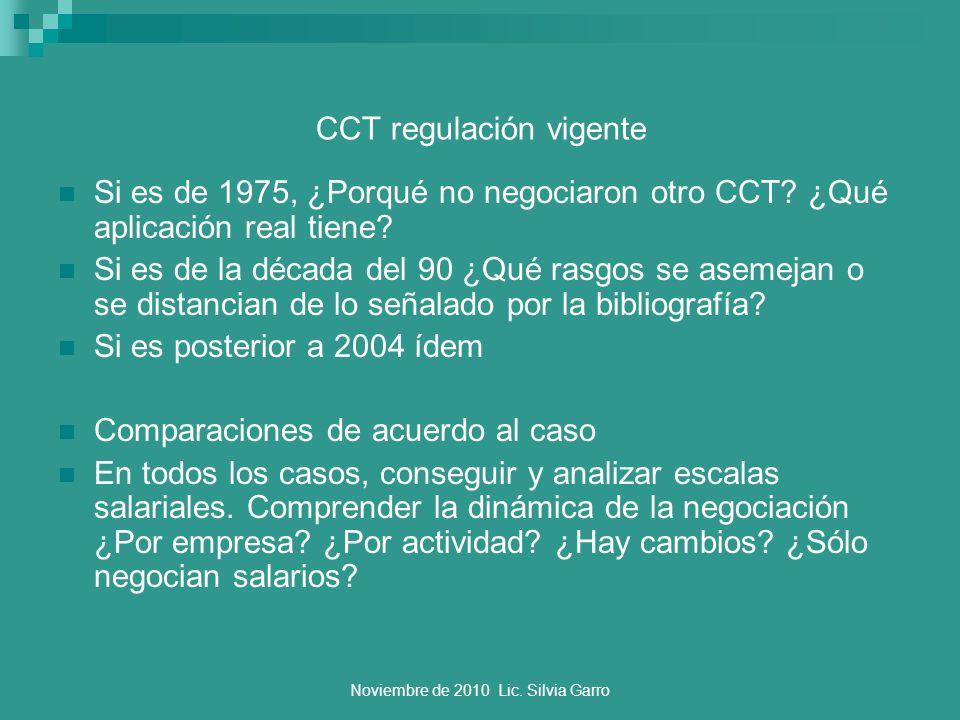 Noviembre de 2010 Lic. Silvia Garro CCT regulación vigente Si es de 1975, ¿Porqué no negociaron otro CCT? ¿Qué aplicación real tiene? Si es de la déca