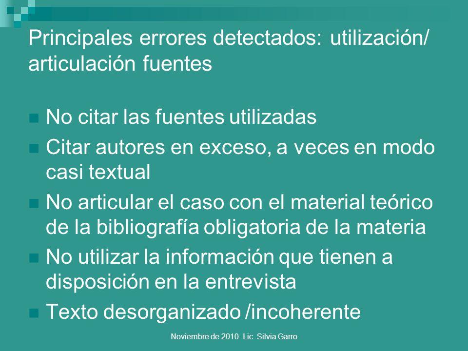 Noviembre de 2010 Lic. Silvia Garro Principales errores detectados: utilización/ articulación fuentes No citar las fuentes utilizadas Citar autores en