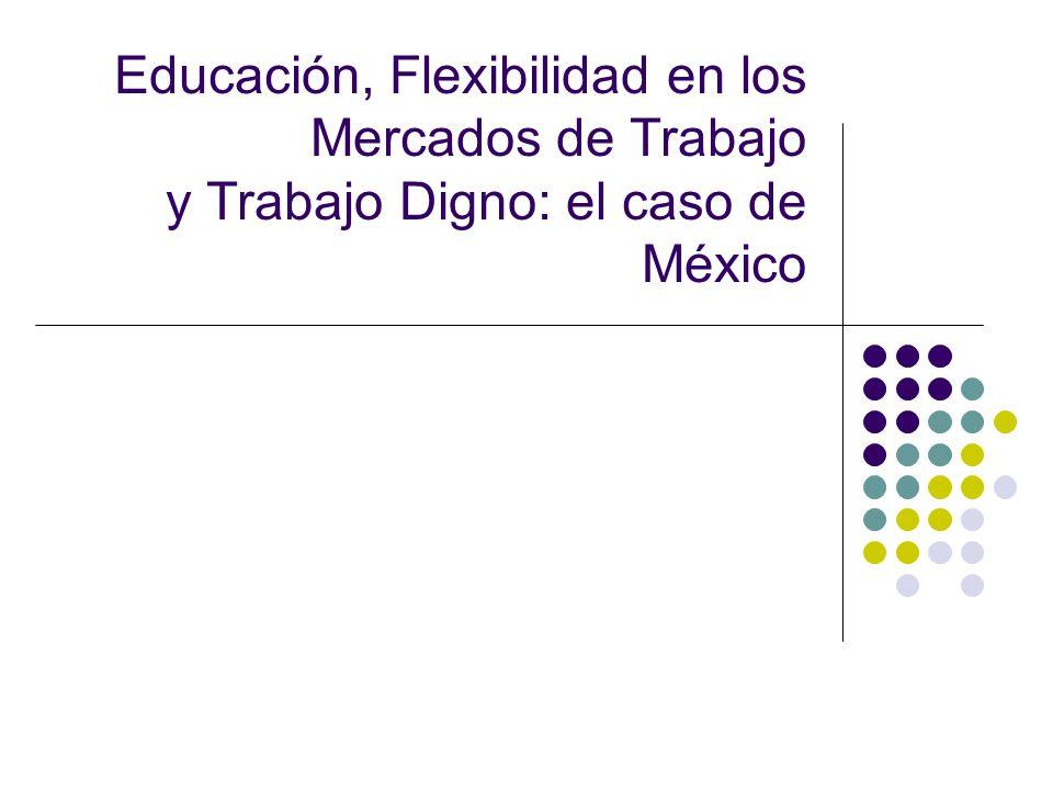 La flexibilización, implicaciones para el mercado laboral mexicano Los aspectos de la productividad y el crecimiento de la economía y sus efectos en el funcionamiento de los mercados laborales, cobran vigencia en el contexto de México, que se ha caracterizado por un crecimiento económico muy moderado, (negativo en 1995 y muy posiblemente en 2009, se menciona un crecimiento de -7% del PIB) baja productividad, desempleo crónico y subempleo en los mercados informales.