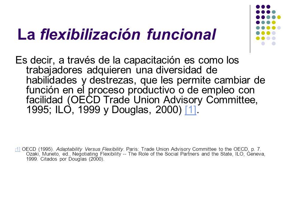 La flexibilización funcional Es decir, a través de la capacitación es como los trabajadores adquieren una diversidad de habilidades y destrezas, que l