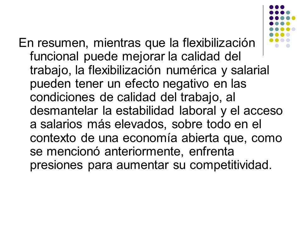 En resumen, mientras que la flexibilización funcional puede mejorar la calidad del trabajo, la flexibilización numérica y salarial pueden tener un efe