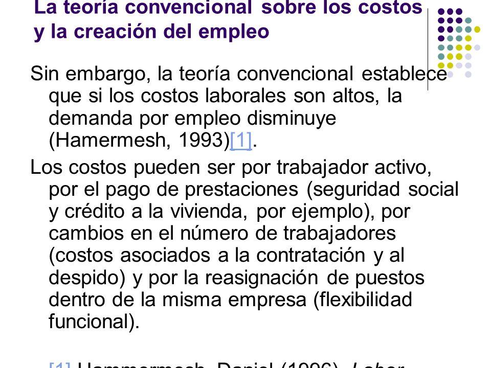 La teoría convencional sobre los costos y la creación del empleo Sin embargo, la teoría convencional establece que si los costos laborales son altos,