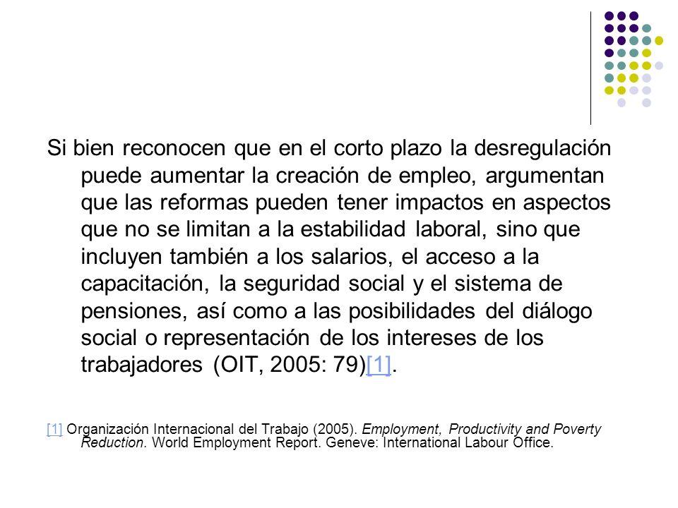 Si bien reconocen que en el corto plazo la desregulación puede aumentar la creación de empleo, argumentan que las reformas pueden tener impactos en as
