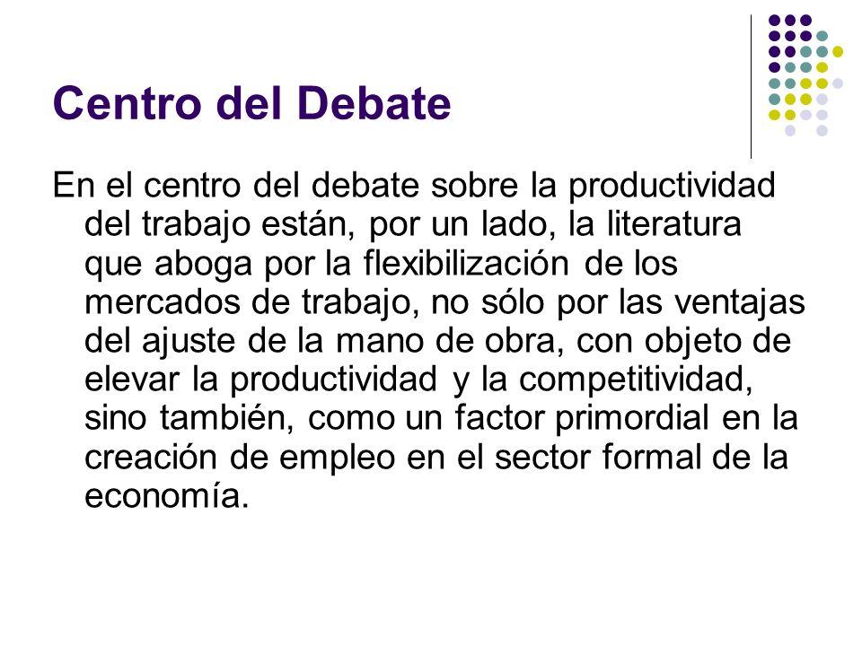 Centro del Debate En el centro del debate sobre la productividad del trabajo están, por un lado, la literatura que aboga por la flexibilización de los