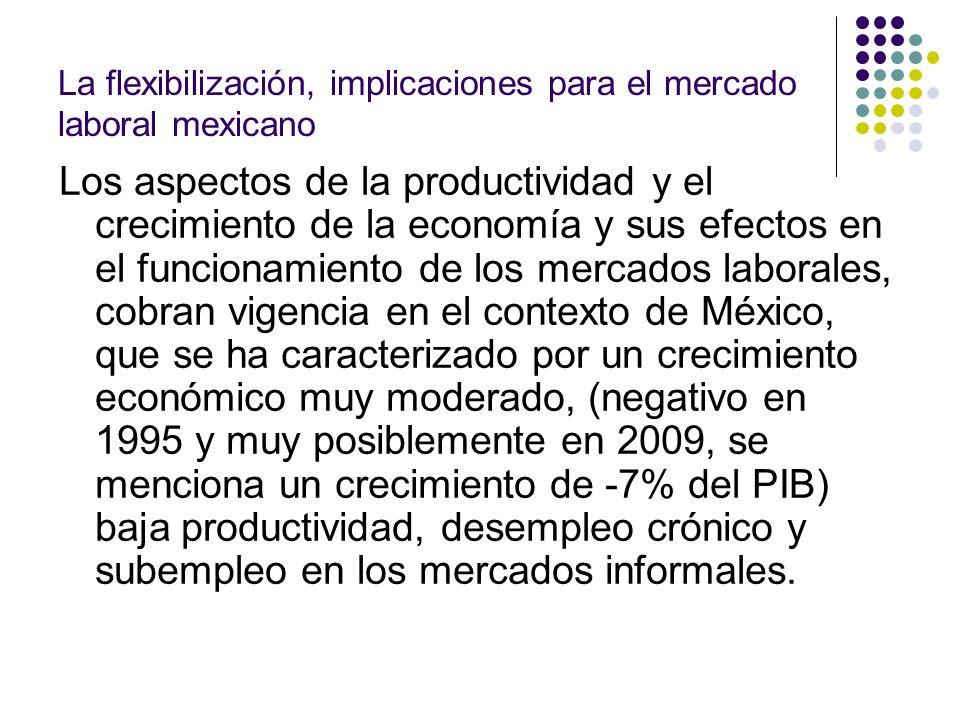 La flexibilización, implicaciones para el mercado laboral mexicano Los aspectos de la productividad y el crecimiento de la economía y sus efectos en e