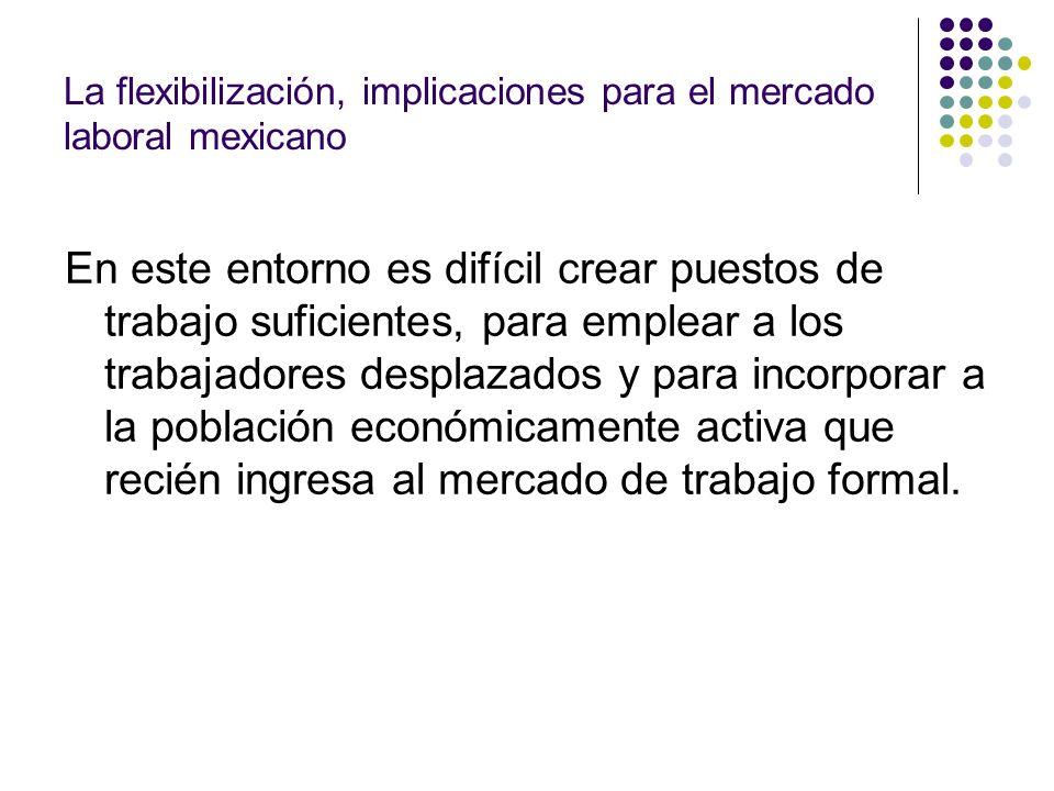 La flexibilización, implicaciones para el mercado laboral mexicano En este entorno es difícil crear puestos de trabajo suficientes, para emplear a los