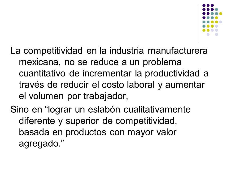 La competitividad en la industria manufacturera mexicana, no se reduce a un problema cuantitativo de incrementar la productividad a través de reducir