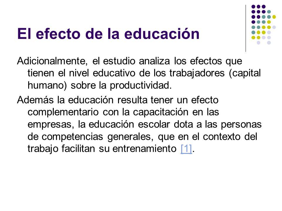 El efecto de la educación Adicionalmente, el estudio analiza los efectos que tienen el nivel educativo de los trabajadores (capital humano) sobre la p