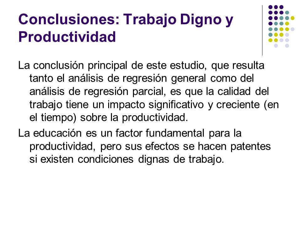 Conclusiones: Trabajo Digno y Productividad La conclusión principal de este estudio, que resulta tanto el análisis de regresión general como del análi