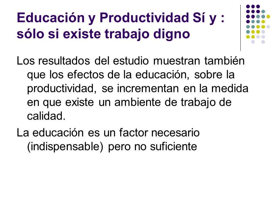 Educación y Productividad Sí y : sólo si existe trabajo digno Los resultados del estudio muestran también que los efectos de la educación, sobre la pr