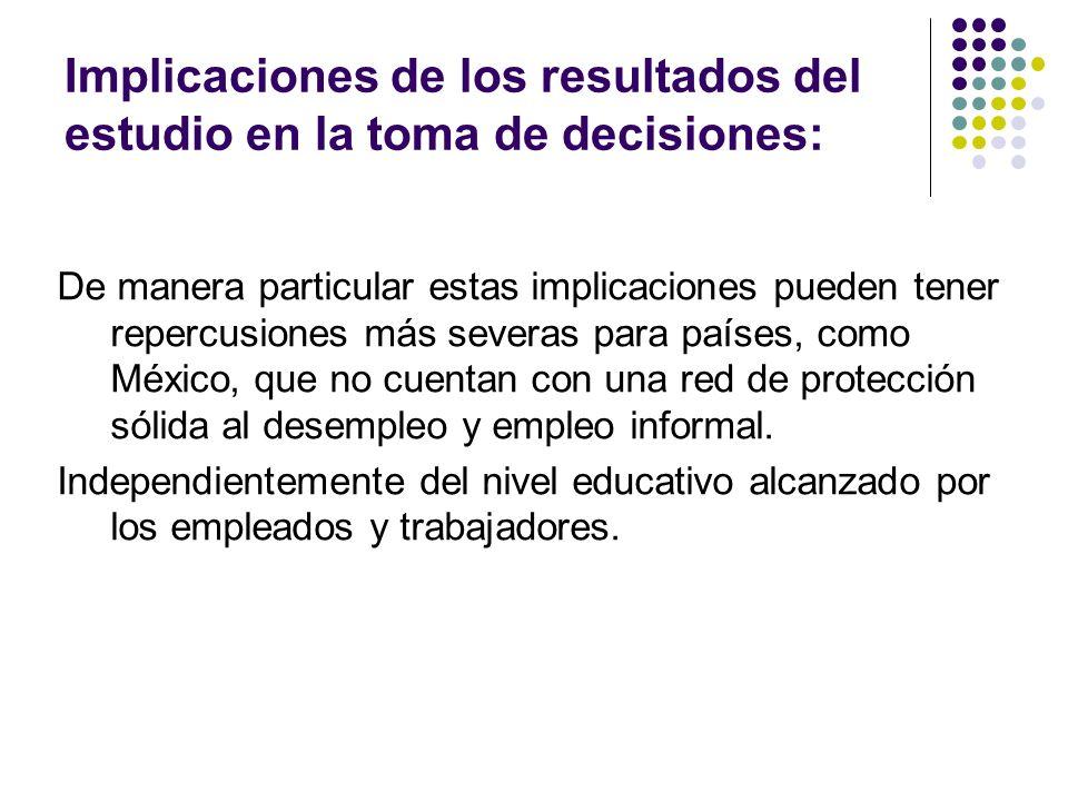 Implicaciones de los resultados del estudio en la toma de decisiones: De manera particular estas implicaciones pueden tener repercusiones más severas