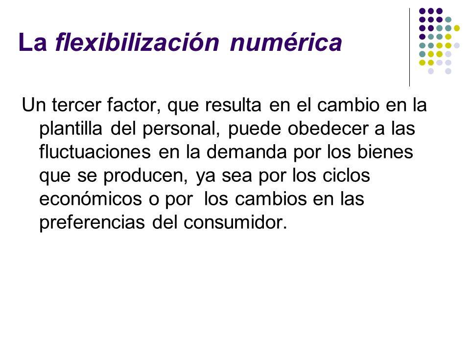 La flexibilización numérica Un tercer factor, que resulta en el cambio en la plantilla del personal, puede obedecer a las fluctuaciones en la demanda