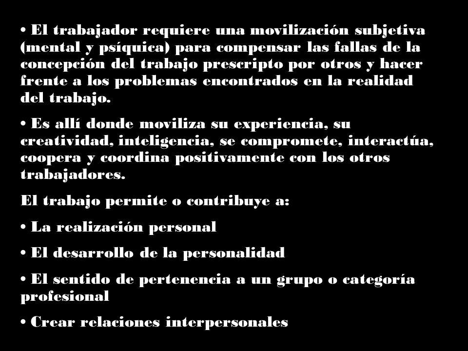 El trabajador requiere una movilización subjetiva (mental y psíquica) para compensar las fallas de la concepción del trabajo prescripto por otros y ha