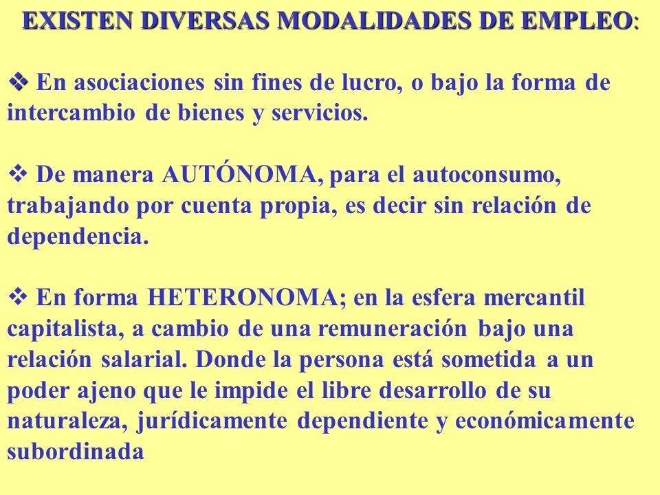 EXISTEN DIVERSAS MODALIDADES DE EMPLEO: En asociaciones sin fines de lucro, o bajo la forma de intercambio de bienes y servicios. De manera AUTÓNOMA,