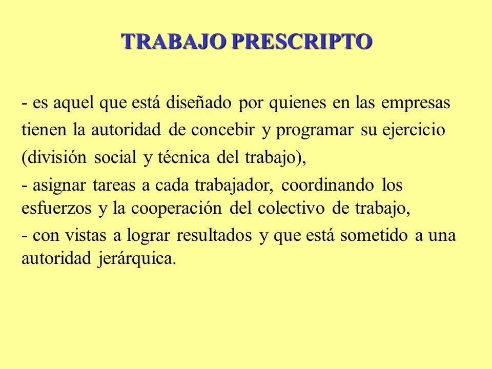 TRABAJO PRESCRIPTO - es aquel que está diseñado por quienes en las empresas tienen la autoridad de concebir y programar su ejercicio (división social