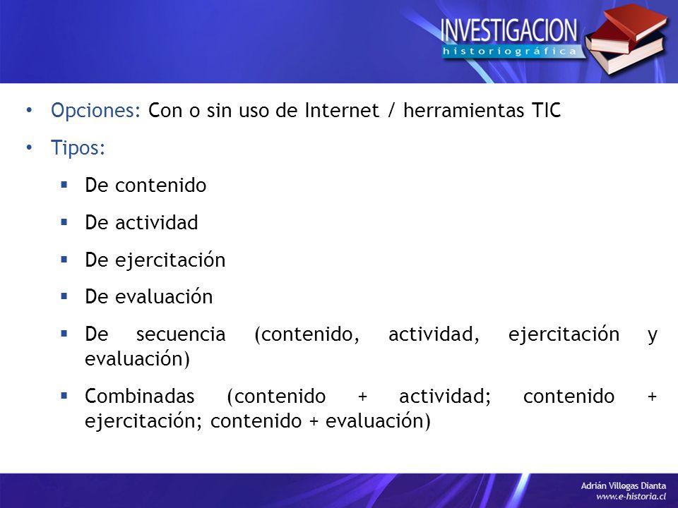 Opciones: Con o sin uso de Internet / herramientas TIC Tipos: De contenido De actividad De ejercitación De evaluación De secuencia (contenido, activid