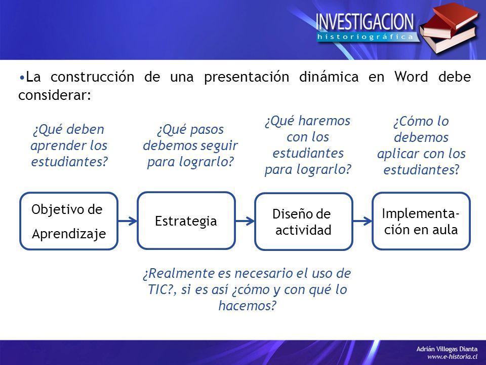La construcción de una presentación dinámica en Word debe considerar: Objetivo de Aprendizaje Estrategia Diseño de actividad Implementa- ción en aula