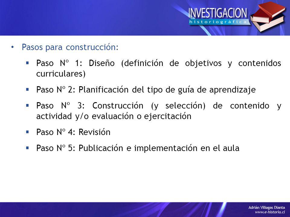 Pasos para construcción: Paso Nº 1: Diseño (definición de objetivos y contenidos curriculares) Paso Nº 2: Planificación del tipo de guía de aprendizaj