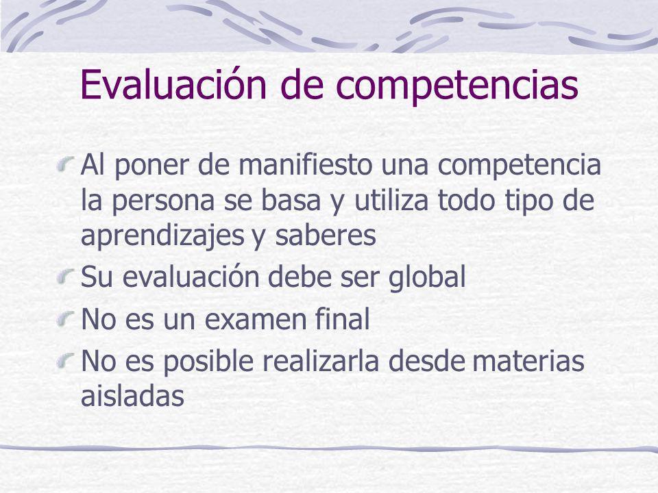 Evaluación de competencias Al poner de manifiesto una competencia la persona se basa y utiliza todo tipo de aprendizajes y saberes Su evaluación debe