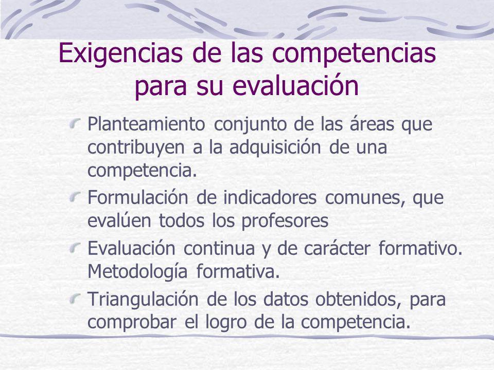 Exigencias de las competencias para su evaluación Planteamiento conjunto de las áreas que contribuyen a la adquisición de una competencia. Formulación