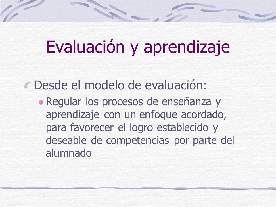 Evaluación y aprendizaje Desde el modelo de evaluación: Regular los procesos de enseñanza y aprendizaje con un enfoque acordado, para favorecer el log