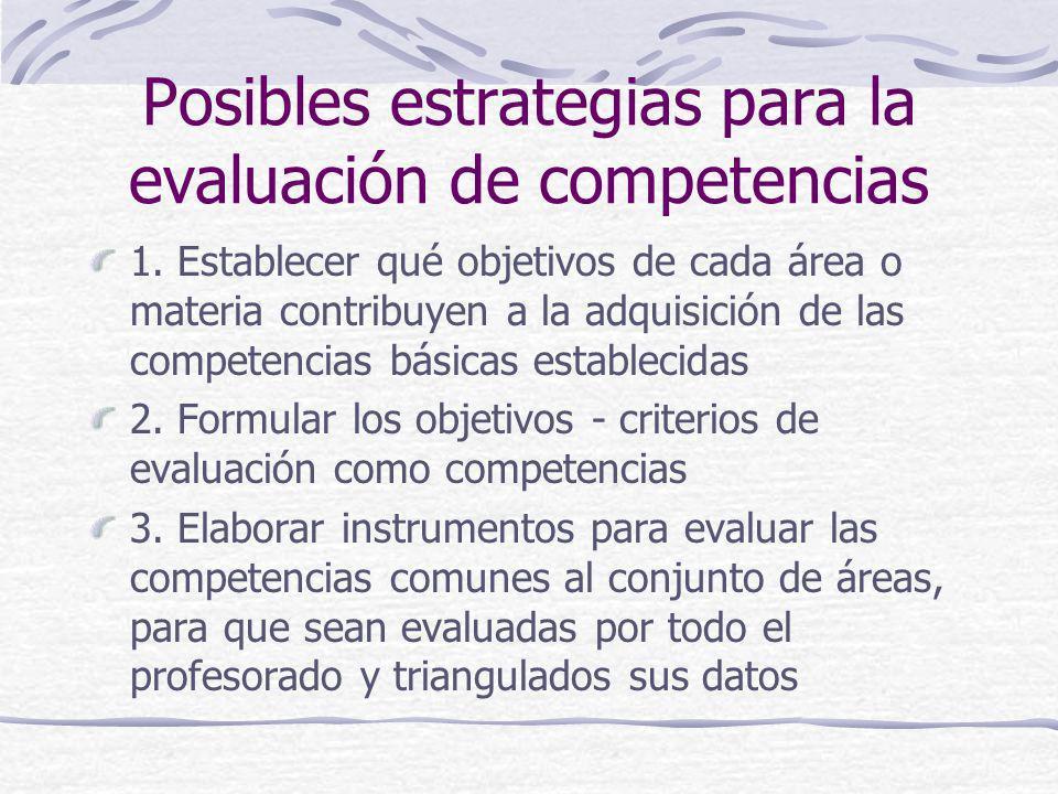 Posibles estrategias para la evaluación de competencias 1. Establecer qué objetivos de cada área o materia contribuyen a la adquisición de las compete