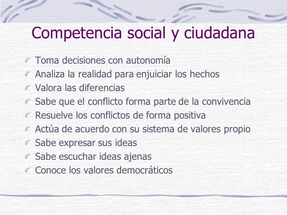 Competencia social y ciudadana Toma decisiones con autonomía Analiza la realidad para enjuiciar los hechos Valora las diferencias Sabe que el conflict
