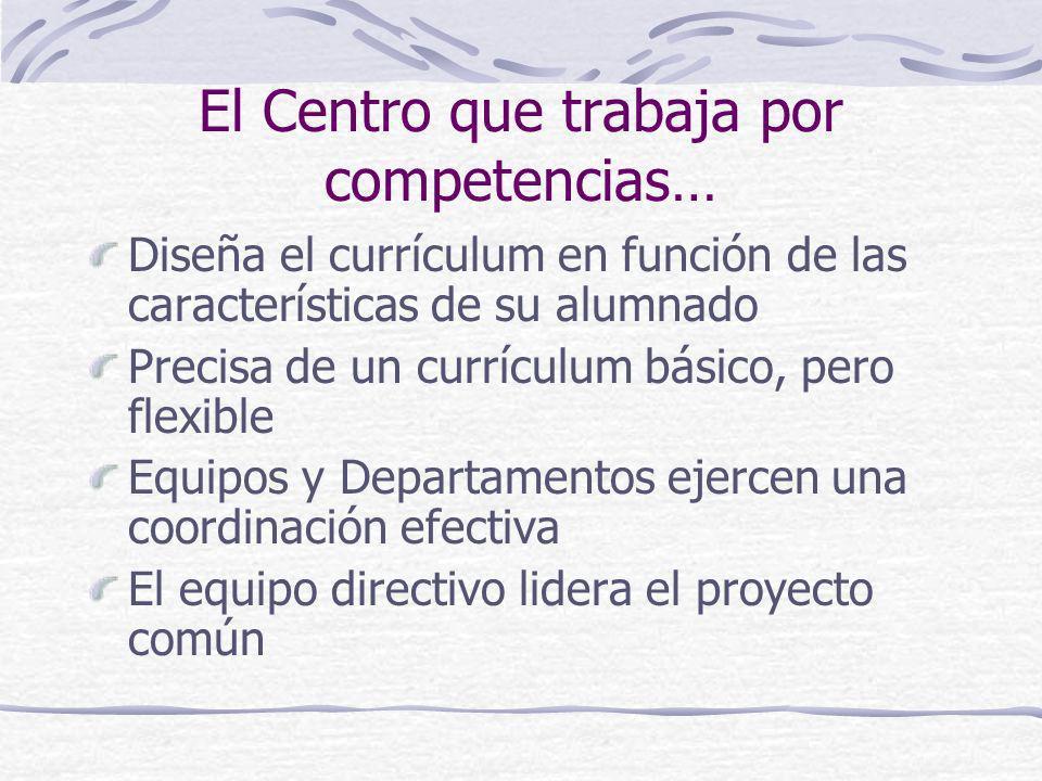 El Centro que trabaja por competencias… Diseña el currículum en función de las características de su alumnado Precisa de un currículum básico, pero fl