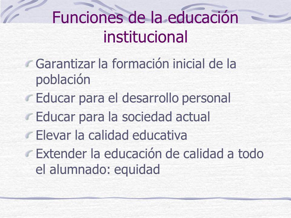 Funciones de la educación institucional Garantizar la formación inicial de la población Educar para el desarrollo personal Educar para la sociedad act