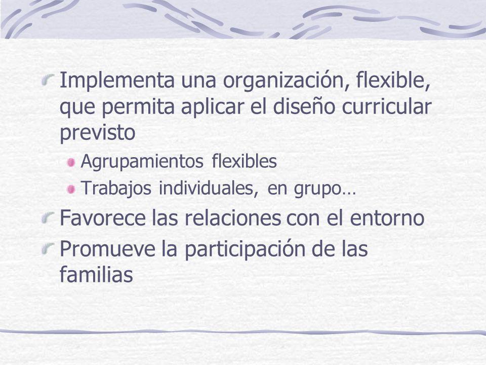 Implementa una organización, flexible, que permita aplicar el diseño curricular previsto Agrupamientos flexibles Trabajos individuales, en grupo… Favo