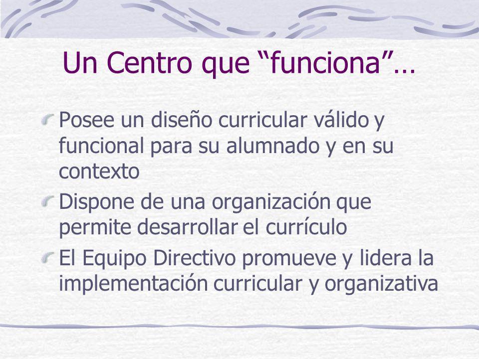 Un Centro que funciona… Posee un diseño curricular válido y funcional para su alumnado y en su contexto Dispone de una organización que permite desarr