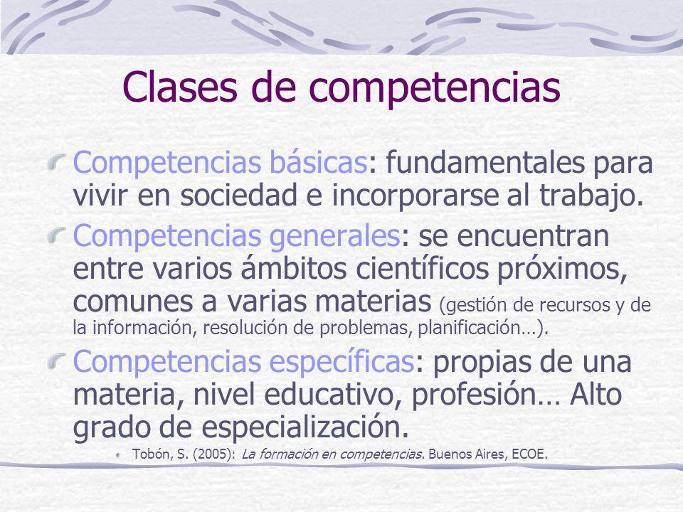 Clases de competencias Competencias básicas: fundamentales para vivir en sociedad e incorporarse al trabajo. Competencias generales: se encuentran ent