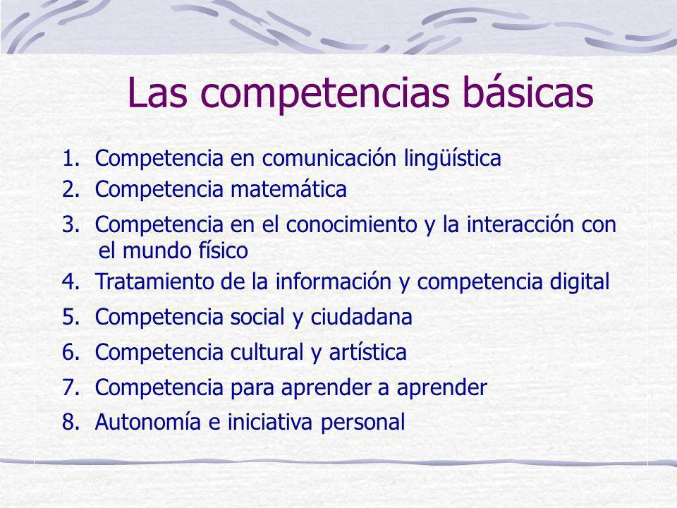 1. Competencia en comunicación lingüística 2. Competencia matemática 3. Competencia en el conocimiento y la interacción con el mundo físico 4. Tratami