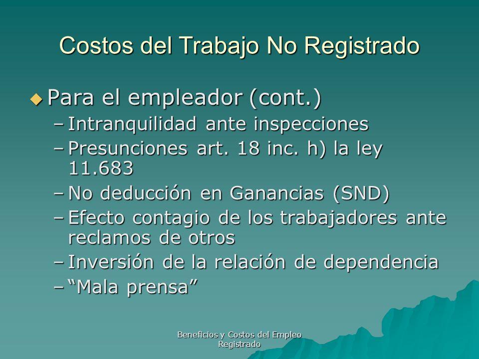 Beneficios y Costos del Empleo Registrado Costos del Trabajo No Registrado Para el empleador (cont.) Para el empleador (cont.) –Intranquilidad ante in